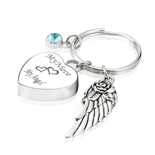 Engraved Personalised My Niece My Angel Cremation Urn Jewelry Keychain Memorial Ash Keepsake December Turquoise Birthstone Angel Wings Charms (Engraved Turquoise Pendant)