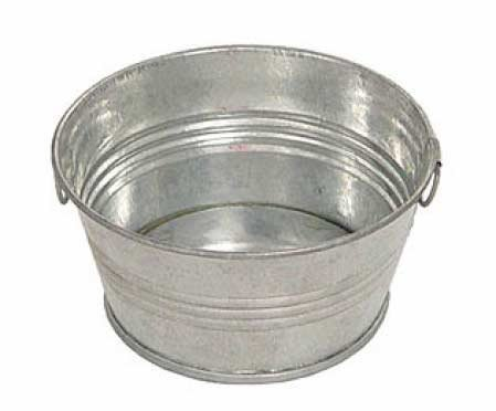 Set of 2 Wash Tub Style Galvanized Metal Pans with Handles for Crafting, Candles, and Arranging