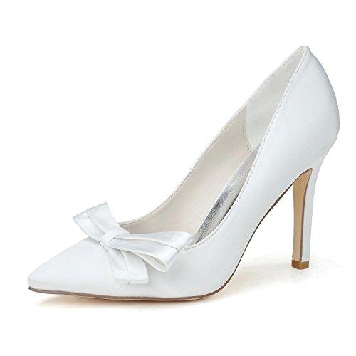 L@YC Damen High Heels / Hochzeitsschuhe Komfortable Basic Pump & abend Frühling und Sommer Satin Wedding Party White