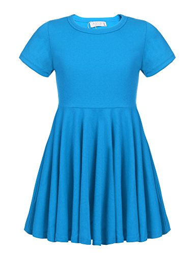 Arshiner Little Girls Short Sleeve A Line Casual Skater Dress Dark Blue 140(Age for 10-11Y)