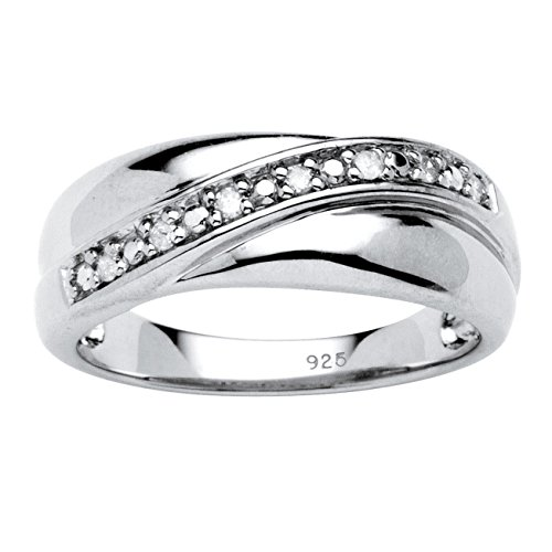 Men's White Diamond Platinum over .925 Silver Wedding Band (.10 cttw, HI Color, I2-I3 Clarity)
