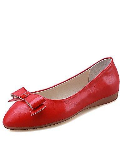 Tempo Punta Rosso libero Casual Scarpe Piatto Rosa Red Finta ShangYi Donna Ballerine arrotondata Nero Formale pelle FwtnqW06