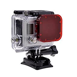 TANSUO Snorkel Red Filter for GoPro Hero3, SJ4000 Action Cameras (For 8 screws on front of housing)