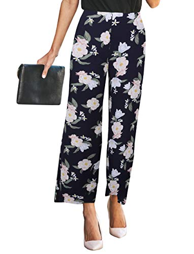 (Changger Womens Palazzo Wide Leg Pants High Waisted Chiffon Floral Print Loose Casual Trouser with Zipper Closure Navy)