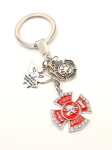 [Firefighter Keychain -Car Accessory- Ring - Fob - Purse - Pocket- Clasp-Silver-tone- First] (First Responders Costumes)