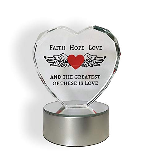 BANBERRY DESIGNS : Light up LED Faith Hope Love Heart - and The Greatest of These is Love - Etched Faceted Glass Heart on LED Multi Colored Lighted Base - Gift for Friends or Family - Wedding