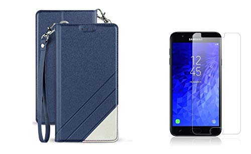 BC Synthetic PU Leather Magnetic Flip Cover Wallet Case (Dark Blue) with Tempered Glass Screen Protector and Atom Cloth for Samsung Galaxy J7, J7 V 2nd Gen 2018