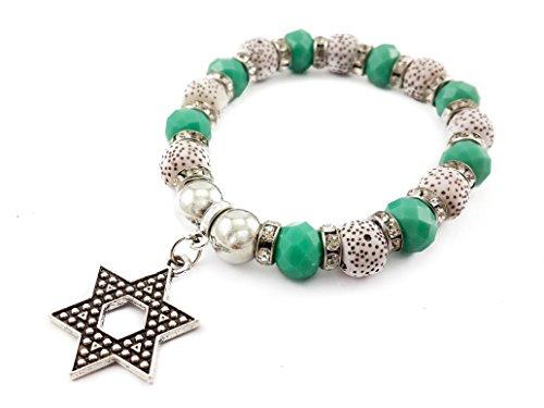 Star Of David Silver Magen David Green Beads Wrist Bracelet Adjustable Elastic Bangle ()