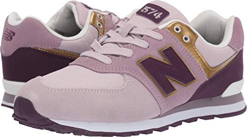 New Balance Girls' Iconic 574 Sneaker Light Cashmere/Dark Currant 5.5 W US Big Kid - New Balance Girls