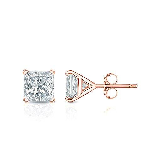 Pc100 Natural - IGI Certified 14k Rose Gold 4-Prong Martini Princess Diamond Stud Earrings (1ct, White, SI1-SI2)