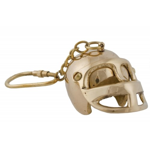 Football Helmet Solid Brass Keychain, 4.5-inch (Makes a Great -