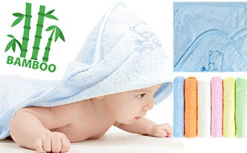NaturCute Bamboo Baby Hooded Towel and 6 Washcloths Set - Blue