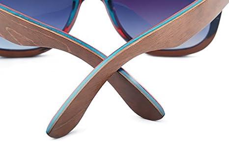 NATURJUWEL - Gafas de sol madera Skateboard polarizadas UV ...