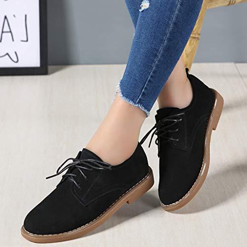 Negro Plana Con Zapato Zapatos Cuero Punta Redonda Mujer Tacón Baja De Bajo Retro Cordones Boca Y xpp8ZwUq