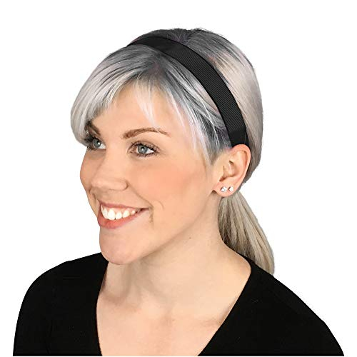 BaniBands Headbands for Women - Non Slip Adjustable Sports Head Bands - Made in USA - Perfect Headband for Active Women Stays in Place During Workout, Running, Yoga and More - Black (Best Workout Headbands That Stay In Place)