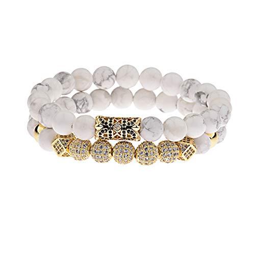 Hebel 2018 Luxury Micro Pave CZ Ball Crown Charm Bracelet Men Jewelry Matte Agate Bead | Model BRCLT - 33602 |