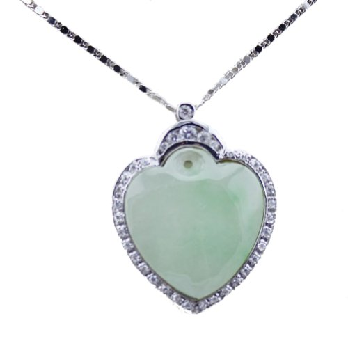 Genuine 925 Silver Jade Necklace (Sterling Silver 25mm Genuine Jade Heart Pendant with Clear Cubic Zircon)