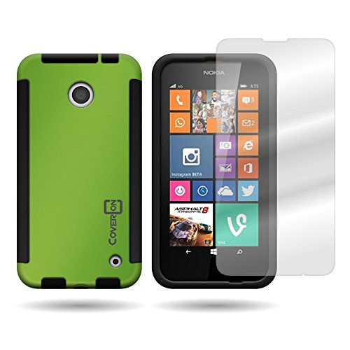Nokia Lumia 635 Case, CoverON [VitaCase Series] Slim Hybrid Armor Hard Cover TPU Bumper Phone Case and Screen Protector for Nokia Lumia 635 - Neon Green & - Cases 635 Nokia For Girls Phone