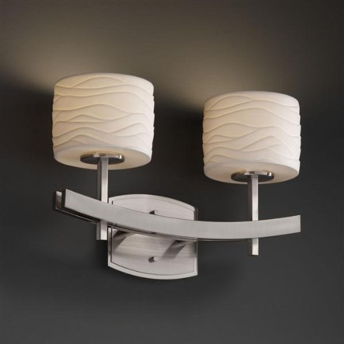 Justice Design Group Lighting POR-8592-45-WAVE-NCKL Archway Two Light Bath ()