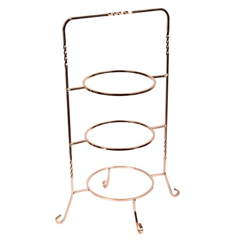 Creative Home 50232 Renaissance Copper Plated 3 Tier Dessert Plate Rack, Copper