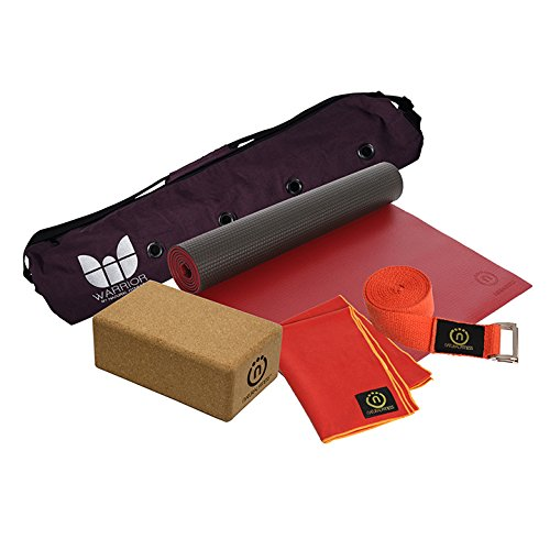Hot Yoga Kit (Warrior Mat, Towel, Cork Block, Hemp Strap) One Size by Natural Fitness