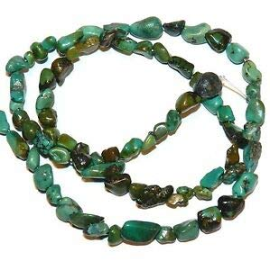NG2084 Blue-Green Turquoise Small 4mm - 8mm Nugget Stabilized Gemstone Beads 15