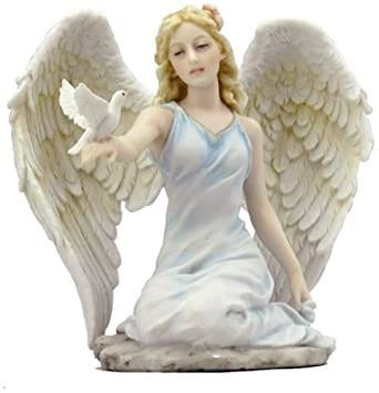 5.13 Inch Angel Kneeling with Right Hand Holding Dove – Light Color