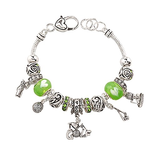 Rosemarie Collections Women's Sports Theme Beaded Charm Bracelet I Love Golf