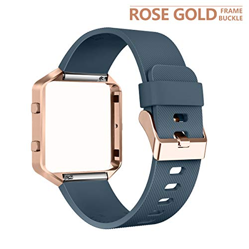 AIUNIT Compatible Fitbit Blaze Band Frame, Replacement for Fitbit Blaze Small Bands Accessories Wristband Watch Sport Strap for Fitbit Blaze Smart Tracker Women Men Teens(Slate Band & Gold Rose Frame)