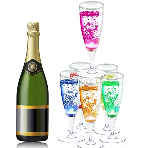 (YANX 6 Pack LED Wine Glasses Champagne Flutes Light Up Glasses LED Liquid Activated Champagne Glasses )