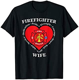 [Featured] Firefighter Wife Thin Red Line Fire Fighter Husband Support in ALL styles | Size S - 5XL