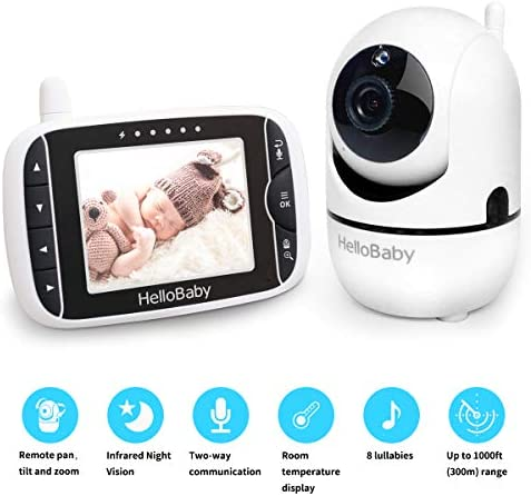 41lp Tyns8L. AC - HelloBaby Video Baby Monitor With Remote Camera Pan-Tilt-Zoom, 3.2'' Color LCD Screen, Infrared Night Vision, Temperature Display, Lullaby, Two Way Audio, With Wall Mount Kit