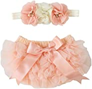 2pcs Newborn Girls Chiffon Bloomer & Headband Set Newborn Photo Prop Baby Girl Cake Smash Outfit Peach &am