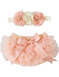 2pcs Cream /& Peach Baby Bloomer diaper cover Headband set Newborn Photo Prop