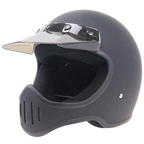 Adult Motorcycle Full Face Helmet, DOT Certification with Light Barrier Men and Women Seasons Universal/Retro Full Face Cruiser 3/4 Harley Helmet,Black,L