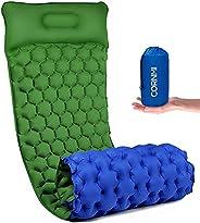 Camping Sleeping Pad Inflatable Sleep Mat with Pillow, Ultralight Light 600G Waterproof Air Camping Mat for Ba