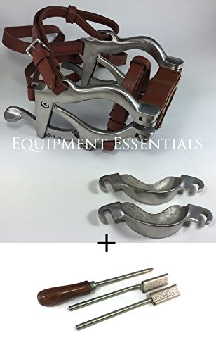 Equine Miniature Horse Pony Dental Mouth Gag Speculum with FLOATS Stainless Steel Satin with Biothane Leather Straps Dentistry Veterinary Bits Cups Upper Lower Jaws by Equipment Essentials
