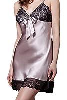 Women Sexy Silk Braces Dress Lace Sleepwear Nightgown