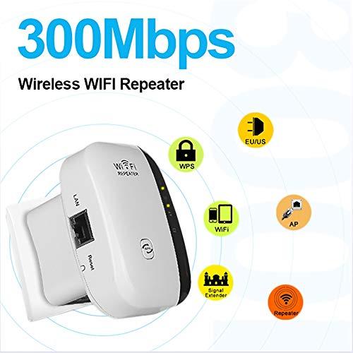 HUIJIN1 300Mbps Mini WiFi Repetidor inalámbrico de señal de Internet Booster con Antenas externas Compatible con Alexa,...