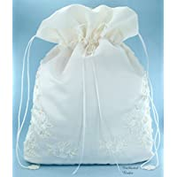 Satin Bridal Wedding Money Bag (#E1D4MBiv) in Large Size with Pearl-Embellished Floral Lace for Receiving Envelops, Dollar Dance, Bridal Purse, and Other Special Occasions