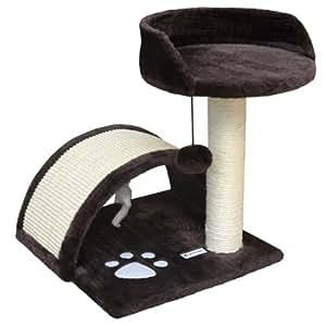 eyepower Cindy - Rascador para gatos, 44 cm, sisal con tablero forrado de tela de peluche y juguetes, varios colores, marrón