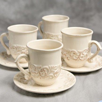 Cream Tall Cup w/ Saucer (Set-4)