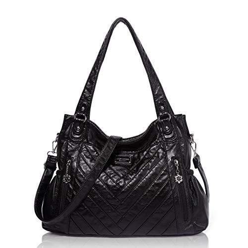 Angel Barcelo Womens Fashion Handbags Tote Bag Cross Body Shoulder Bag Top Handle Satchel Purse Black