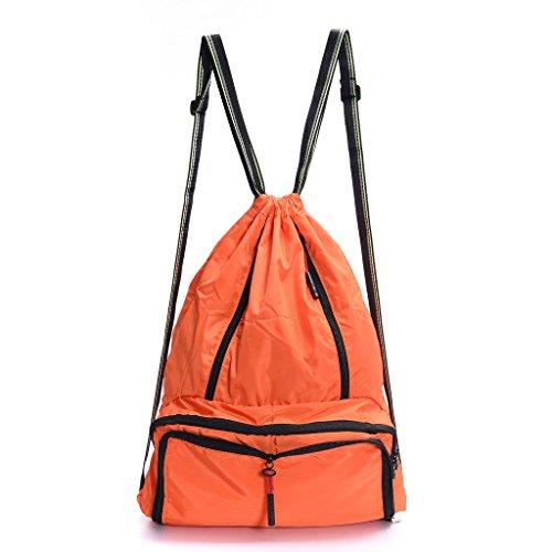 Lightweight Sport Gym Sack Foldable Drawstring BackpackTravel Bags for Men Women (Orange)
