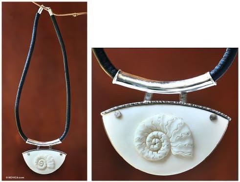 NOVICA Sterling Silver Leather Bone Pendant Necklace