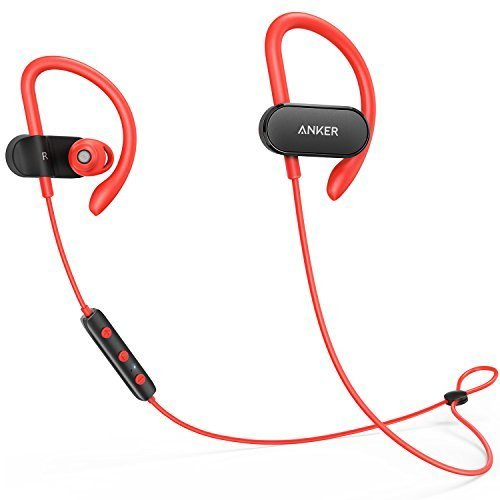 Anker SoundBuds Curve Wireless Earbuds, Bluetooth 4.1 Sports Earphones w/ Ear Hook and Waterproof Nano Coating, 14 Hour Battery, CVC Noise Cancellation, Gym and Running Workout Headset w/ Carry Pouch