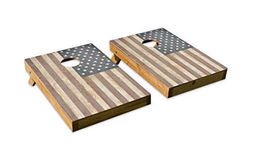 Wood American Flag Design Cornhole/Bean Bag Toss Board Set – Made in USA Wood  - 2'x3' Tailgate Size - Includes 8 Corn-Filled Bean Bags