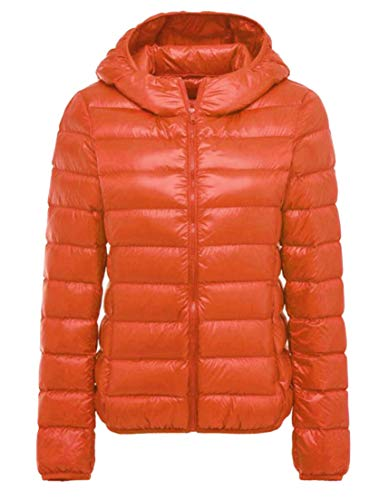 Cromoncent Womens Hoodie Outer Quilting Thermal Fall Winter Light Weight Classic Down Coat Orange M by Cromoncent