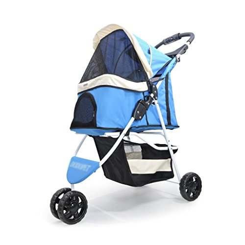 Pet Stroller Trolley Sun Visor Multifunctional Folding Pet Three-wheeled Scooter Outdoor Travel Pet Supplies (Color : ()