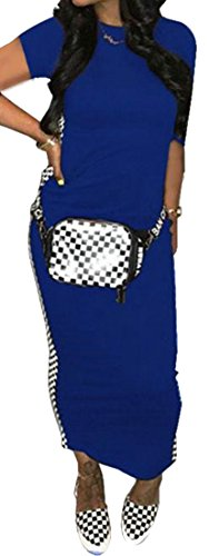 Abiti Zaffiro Donne Cromoncent Clubwear Blu Scacchiera Delle Lunghi Spostare Corta Posteriore A Manica Spacco wvU4q1xXHn
